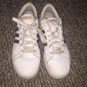 Rose gold adidas sneakers size 6